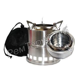 Портативная плита нержавеющая сталь Щепочница (дрова, ветки, листья, сухое горючее)