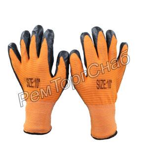 Перчатки нейлоновые с рельефным нитриловым покрытием.(оранжевые)