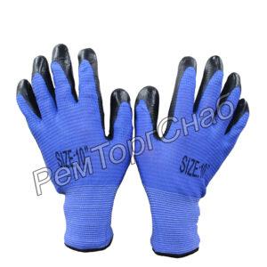 Перчатки нейлоновые с рельефным нитриловым покрытием.(синие)