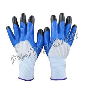 Перчатки нейлоновые с добавлением резины синие.